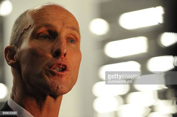 Coach Bob Bradley talks to the press following the World Cup 2010 draw at the Cape Town International Convention Centre in Cape Town on December 4,...