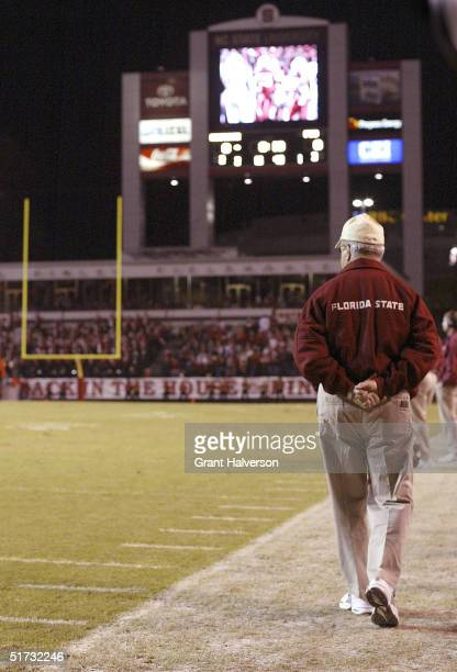 Coach Bobby Bowden of the Florida State Seminoles walks the sidelines during a 1710 win over the North Carolina State Wolfpack on November 11 at...