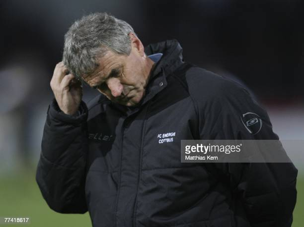Coach Bojan Prasnikar of Cottbus looks dejected after loosing the Bundesliga match between FC Energie Cottbus and MSV Duisburg at the Stadion der...
