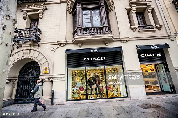 coach boutique in madrid, spain - coach designer label stock pictures, royalty-free photos & images