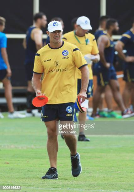 Coach Brad Arthur during a Parramatta Eels NRL preseason training session at Old Saleyards Reserve on January 3 2018 in Sydney Australia
