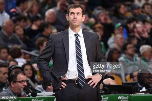 Coach Brad Stevens of the Boston Celtics watches on during the game against the Atlanta Hawks on February 2 2018 at the TD Garden in Boston...