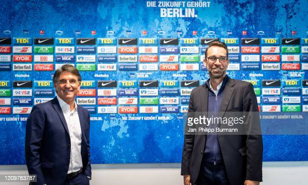 Coach Bruno Labbadia and CEO Michael Preetz of Hertha BSC during the press conference at Hertha BSC headquarter on April 13 2020 in Berlin Germany