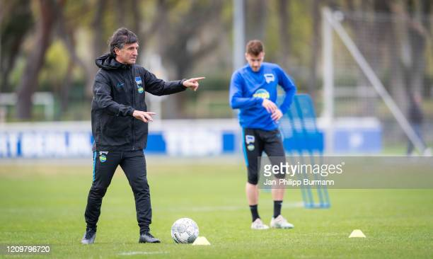 Coach Bruno Labbadia of Hertha BSC during the training session at Schenkendorfplatz on April 13 2020 in Berlin Germany