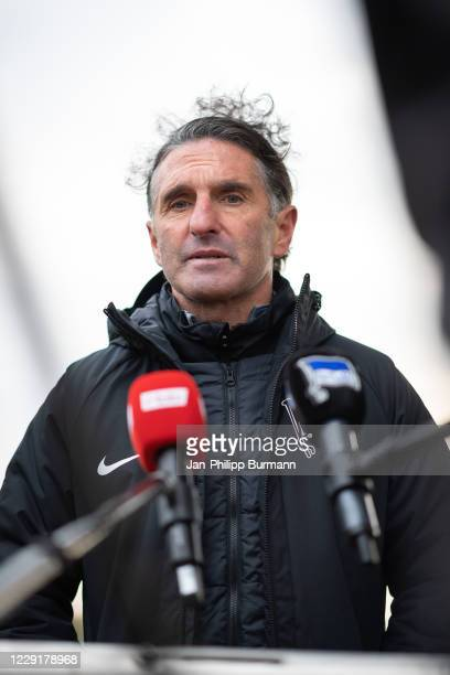 Coach Bruno Labbadia of Hertha BSC gives an interview after a training session on October 20 2020 in Berlin Germany