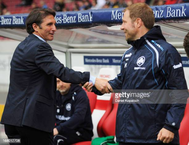 Coach Bruno Labbadia of Stuttgart welcomes Coach Frank Kramer of Fuerth prior to the Bundesliga match between VfB Stuttgart and SpVgg Greuther Fuerth...