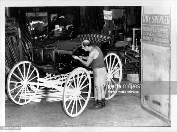 Coach Builder Roy Spencer with a buggy he has restored at his factory at LeichhardtKelvin Matthews working at the forge in the factory at Leichhardt...