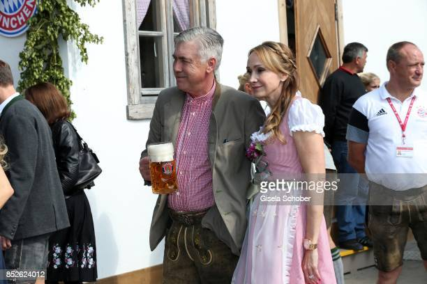 Coach Carlo Ancelotti and his wife Mariann Barrena McClay during the FC Bayern Wies'n as part of the Oktoberfest at Theresienwiese on September 23...