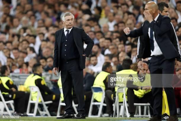 coach Carlo Ancelotti of Bayern Munich coach Zinedine Zidane of Real Madridduring the UEFA Champions League quarter final match between Real Madrid...