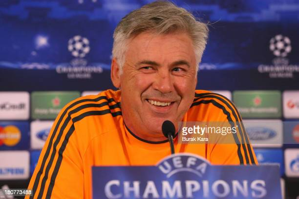 Coach Carlo Ancelotti of Real Madrid attends a press conference ahead of their UEFA Champions League Group B match against Galatasaray AS at the Ali...