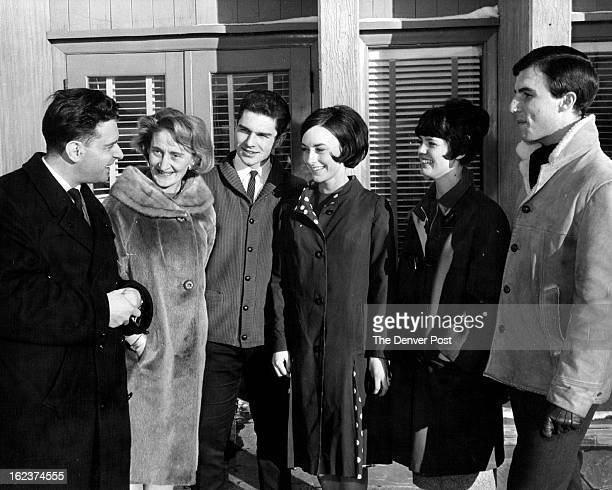 TEST Coach Carlo Fassi and Jean Westwood are pictured with four Broadmoor Skating Club members as the group arrived in Berkeley Calif for the...