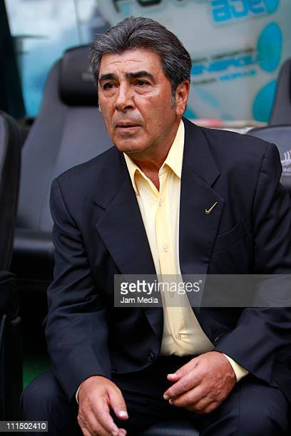 Coach Carlos Reinoso of America during their match as part of the 2011 Clausura Tournament in the Mexican Football League at the Aztec Stadium on...