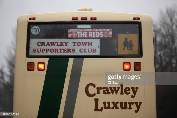 A coach carries fans of the nonleague football club Crawley Town from Crawley's Broadfield Stadium to Manchester to watch Crawley take on Manchester...