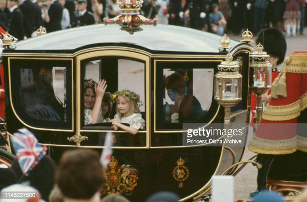 Coach carrying bridesmaids during the wedding of Prince Charles and Diana, Princess of Wales, at St Paul's Cathedral in London, UK, 29th July 1981.