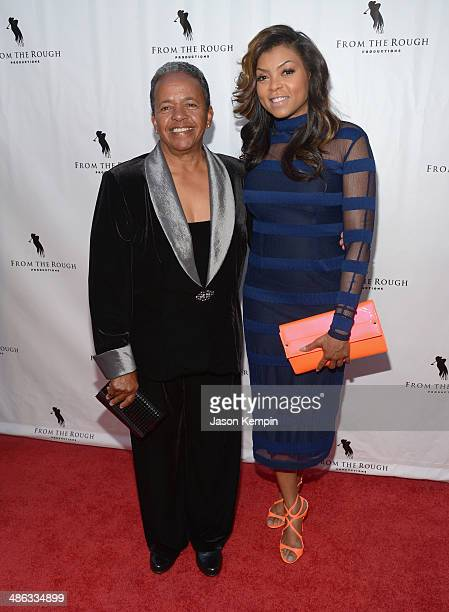 Coach Catana Starks and actress Taraji P Henson attend the screening of From The Rough at ArcLight Cinemas on April 23 2014 in Hollywood California