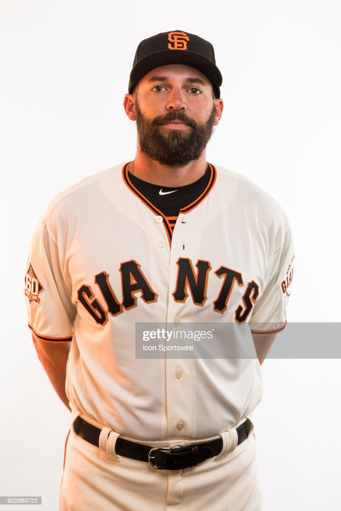 Coach Chad Chop (91) poses for a photo during the San Francisco Giants photo day on Tuesday, Feb. 20, 2018 at Scottsdale Stadium in Scottsdale, Ariz.