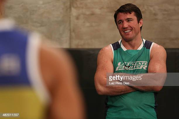 Coach Chael Sonnen interacts with his team after Team Wanderlei fighter Wagner Gomes defeated Team Sonnen fighter Joilton Santos during season three...