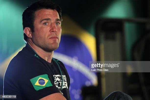 Coach Chael Sonnen interviews after Team Wanderlei fighter Ricardo Abreu faces Team Sonnen fighter Guilherme de Vasconcelos in their middleweight...