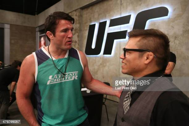 Coach Chael Sonnen is seen during the elimination fight between Richardson Adrigo Moreira and Alexandre Machado for season three of The Ultimate...