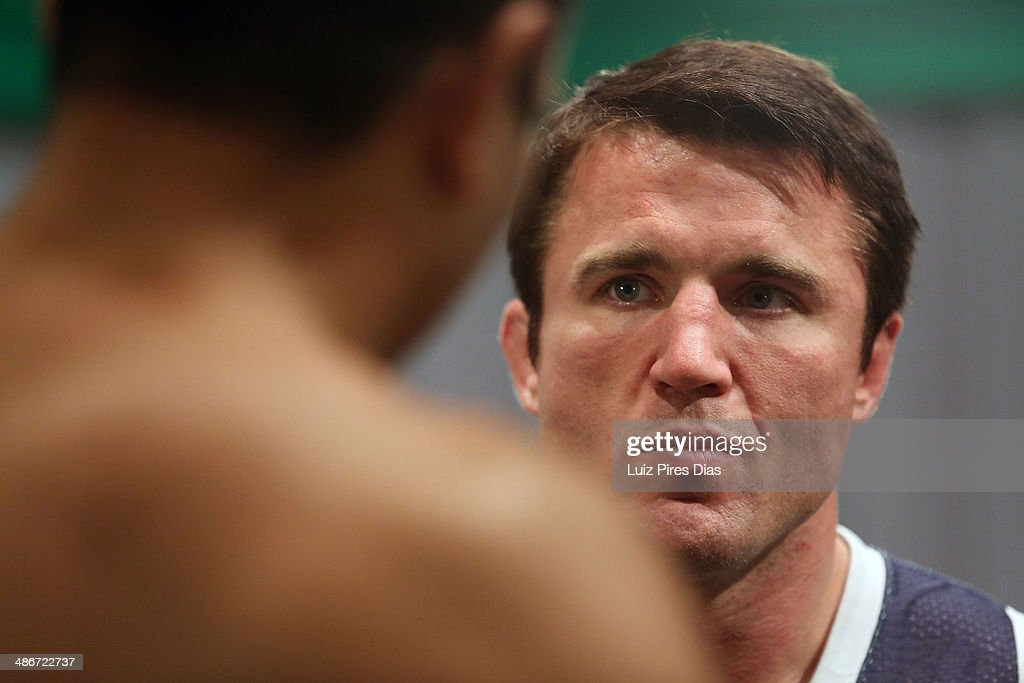 Coach Chael Sonnen speaks with Team Sonnen fighter Job Kleber after being defeated by Team Wanderlei fighter Richardson Moreira during season three of The Ultimate Fighter Brazil on January 28, 2014 in Sao Paulo, Brazil.