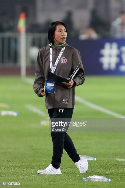 Coach Chan Yuen Ting of Eastern looks on during 2017 AFC Asian Champions League group match between Guangzhou Evergrande Taobao FC and Eastern Sports...