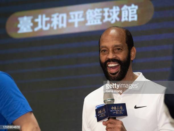 Coach Charlie Parker of Chinese Taipei basketball national team attends the Chinese Taipei basketball national team press conference ahead of the...