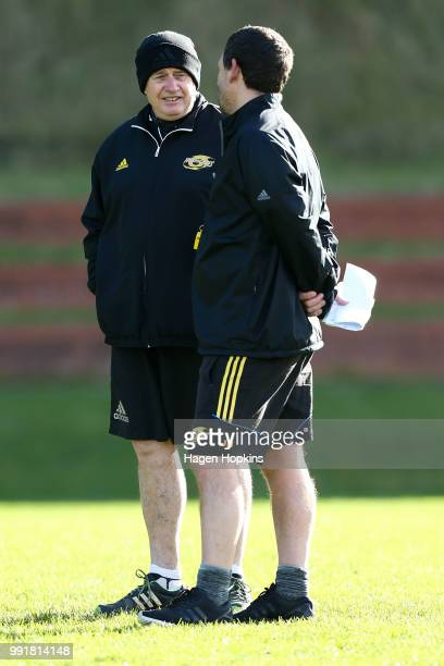 Coach Chris Boyd and assistant coach Jason Holland during a Hurricanes Super Rugby training session at Rugby League Park on July 5 2018 in Wellington...