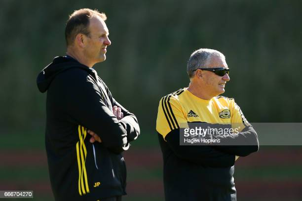Coach Chris Boyd and assistant coach John Plumtree look on during a Hurricanes Super Rugby training session at Rugby League Park on April 10 2017 in...