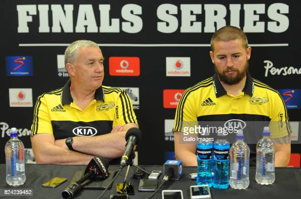 Coach Chris Boyd and Dane Coles of Hurricanes at the post match interview during the Super Rugby Semi Final match between Emirates Lions and...