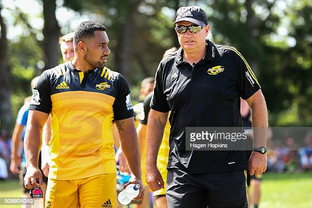 Coach Chris Boyd and Ngani Laumape of the Hurricanes look on during the Super Rugby preseason match between the Blues and the Hurricanes at Eketahuna...