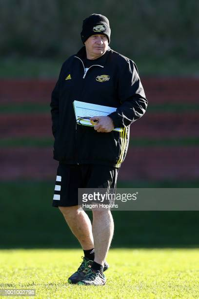 Coach Chris Boyd looks on during a Hurricanes Super Rugby training session at Rugby League Park on July 18 2018 in Wellington New Zealand