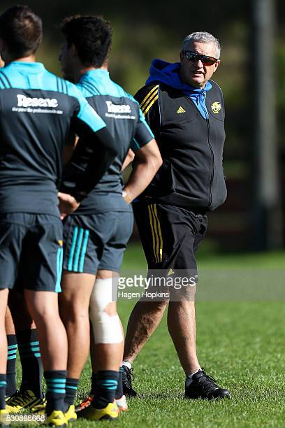 Coach Chris Boyd of the Hurricanes looks on during a Hurricanes training session at Rugby League Park on May 12 2016 in Wellington New Zealand