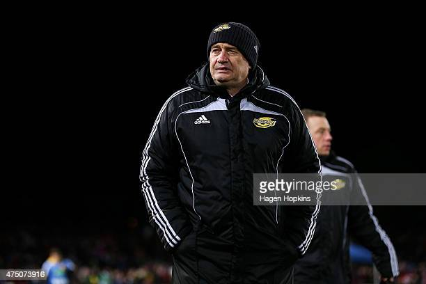 Coach Chris Boyd of the Hurricanes looks on during the round 16 Super Rugby match between the Crusaders and the Hurricanes at Trafalgar Park on May...