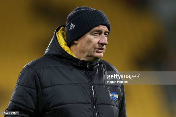 Coach Chris Boyd of the Hurricanes looks on during the round 16 Super Rugby match between the Hurricanes and the Chiefs at Westpac Stadium on June 9...