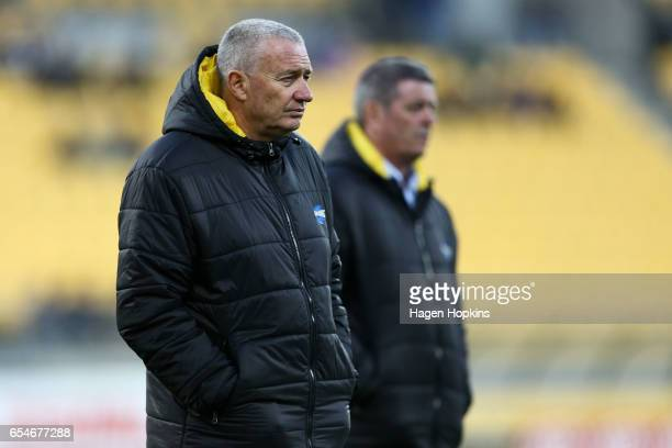 Coach Chris Boyd of the Hurricanes looks on during the round four Super Rugby match between the Hurricanes and the Highlanders at Westpac Stadium on...