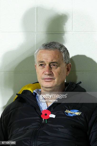 Coach Chris Boyd of the Hurricanes looks on during the round nine Super Rugby match between the Hurricanes and the Brumbies at McLean Park on April...