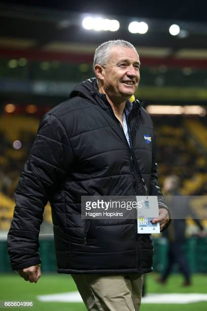 Coach Chris Boyd of the Hurricanes looks on during the round seven Super Rugby match between the Hurricanes and the Waratahs at Westpac Stadium on...