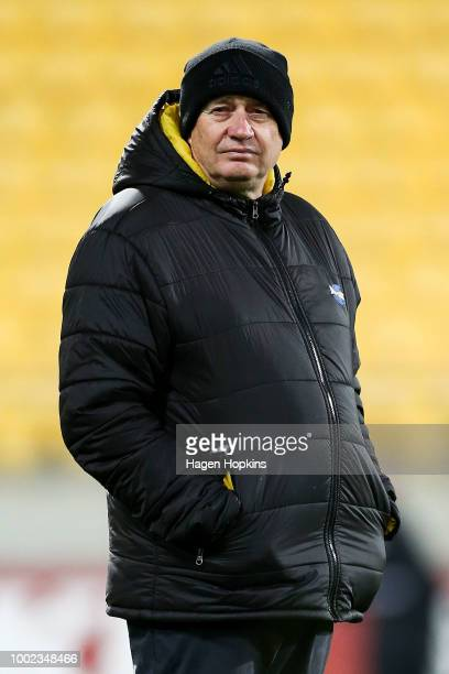 Coach Chris Boyd of the Hurricanes looks on during the Super Rugby Qualifying Final match between the Hurricanes and the Chiefs at Westpac Stadium on...