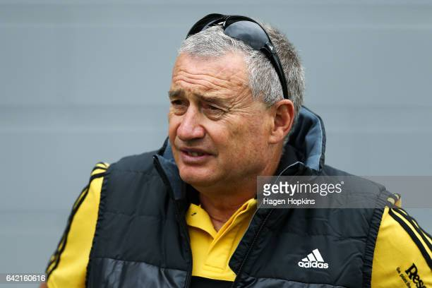 Coach Chris Boyd of the Hurricanes looks on during the Super Rugby preseason match between the Hurricanes and the Crusaders at Border Rugby Club on...
