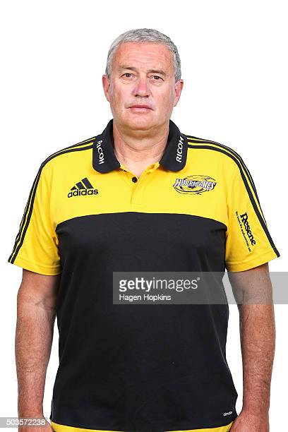 Coach Chris Boyd poses during the Wellington Hurricanes 2016 Super Rugby headshots session on January 6 2016 in Wellington New Zealand