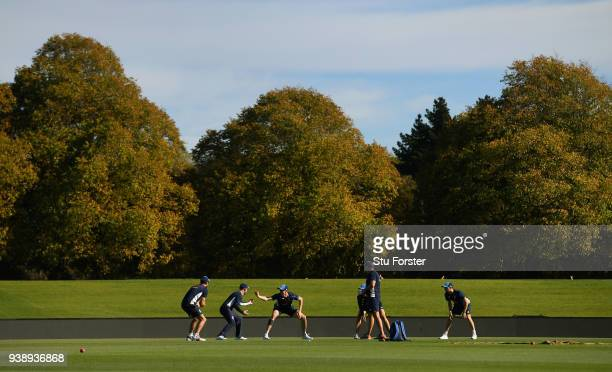 Coach Chris Silverwood gives the England players catching practice in the early autumn sunshine during England nets ahead of the second test match...
