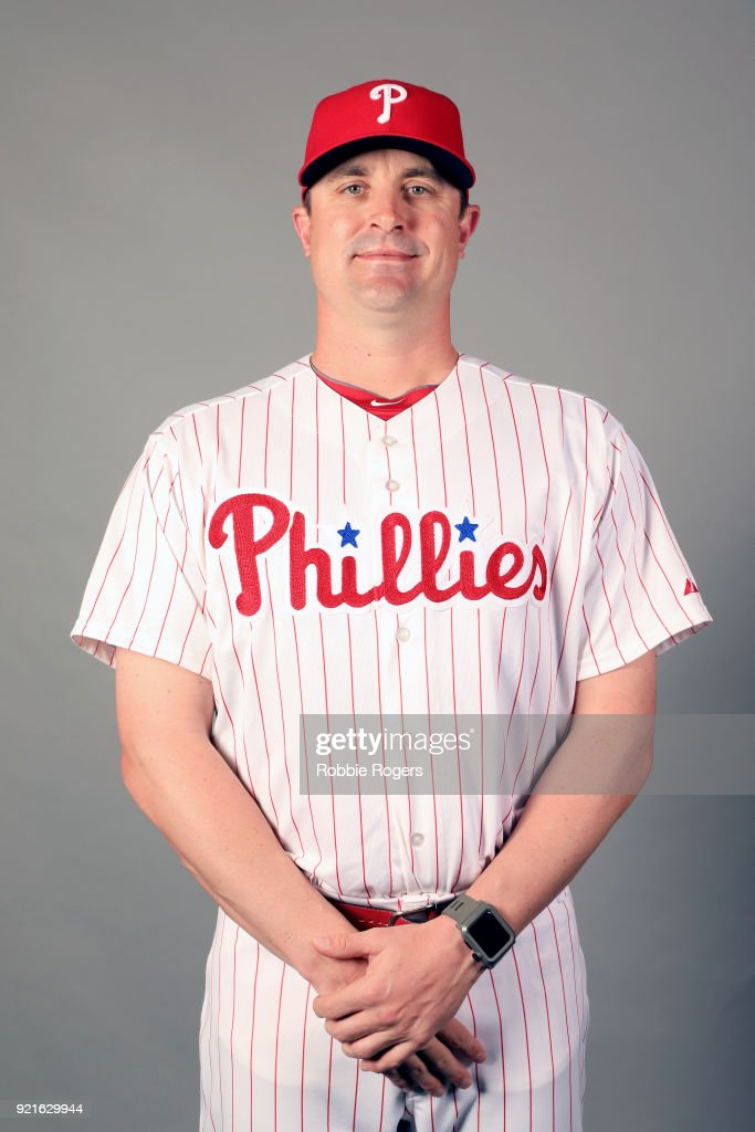 Coach Chris Young #45 of the Philadelphia Phillies poses during Photo Day on Tuesday, February 20, 2018 at Spectrum Field in Clearwater, Florida.