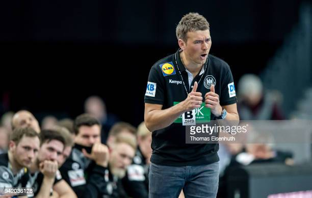 Coach Christian Prokop of Germany reacts during the handball international friendly match between Germany and Serbia at Arena Leipzig on April 4 2018...