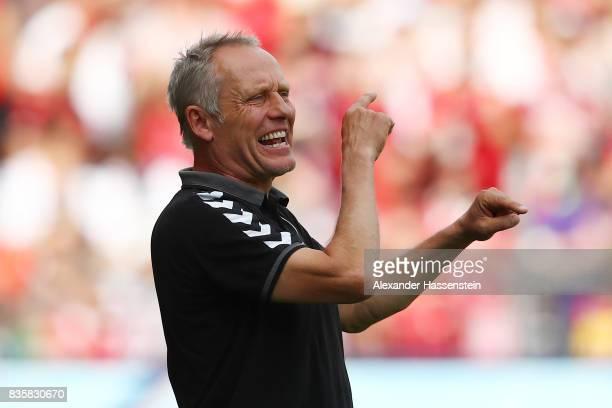 Coach Christian Streich of FC Freiburg during the Bundesliga match between SportClub Freiburg and Eintracht Frankfurt at SchwarzwaldStadion on August...