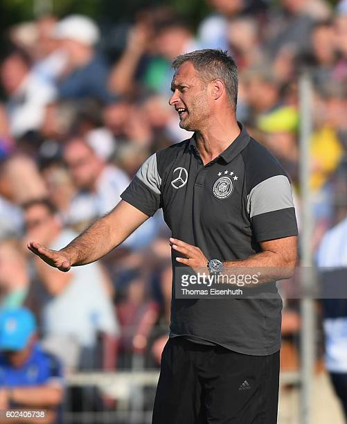 Coach Christian Wueck of Germany reacts during the Under 17 four nations tournament match between U17 Germany and U17 Italy at bluechipArena on...
