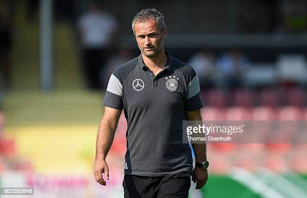 Coach Christian Wueck of Germany reacts prior the Under 17 four nations tournament match between U17 Germany and U17 Italy at bluechipArena on...