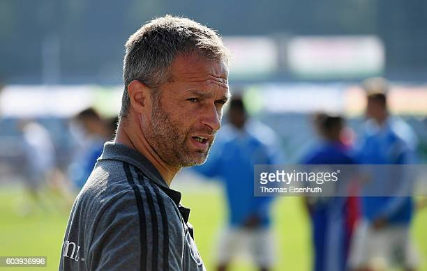 Coach Christian Wueck of Germany reacts prior the Under 17 four nations tournament match between U17 Germany and U17 Israel at ErnstAbbeSportfeld on...