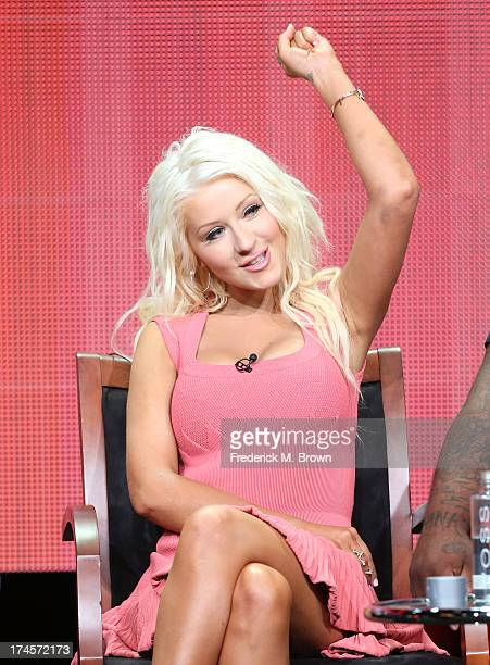 Coach Christina Aguilera speaks onstage during 'The Voice' panel discussion at the NBC portion of the 2013 Summer Television Critics Association tour...