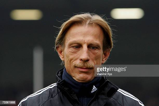 Coach Christoph Daum of Cologne looks down prior to the Second Bundesliga match between Rot Weiss Essen and 1FC Cologne at the GeorgMelches stadium...