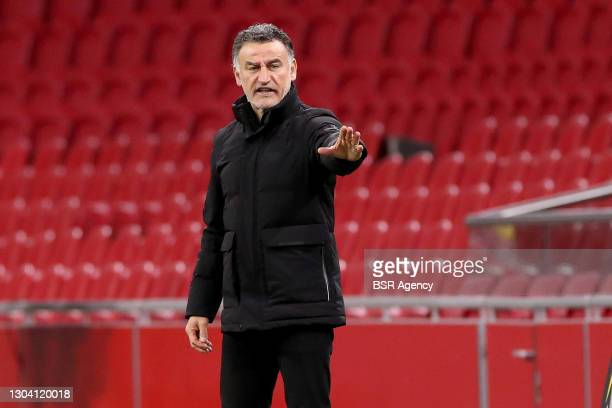 Coach Christophe Galtier of Lille OSC during the UEFA Europa League match between Ajax and Lille OSC at Johan Cruijf Arena on February 25, 2021 in...